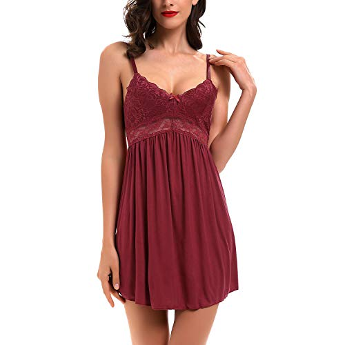 Women Lace Lingerie Sleepwear Chemises V-Neck Full Slip Modal Babydoll Nightgown Dress Wine Red S