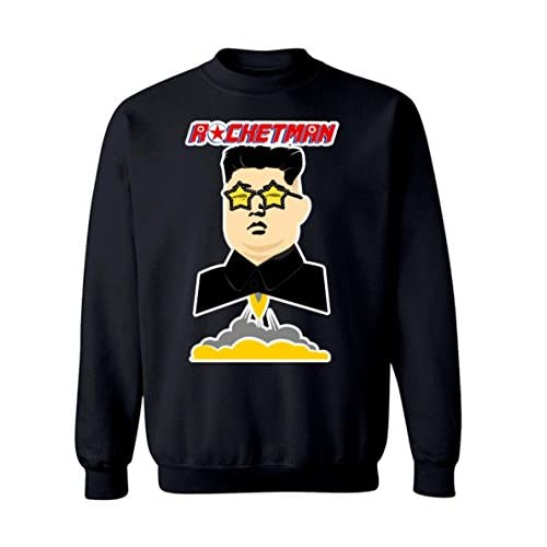 "Cheap Funny Kim Jong Un ""Rocket Man"" Trump Graphic Design Crew Neck Sweatshirt"