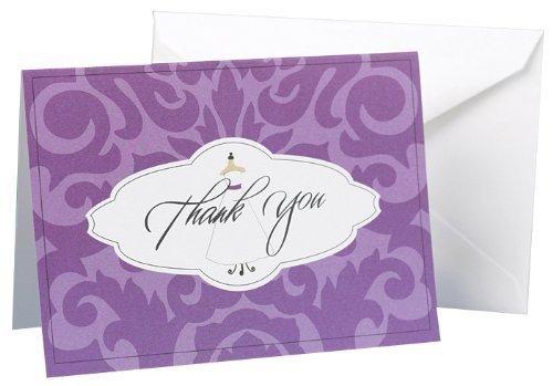 (Hortense B. Hewitt Womens Damask Wedding Gown Thank You Cards, Purple)