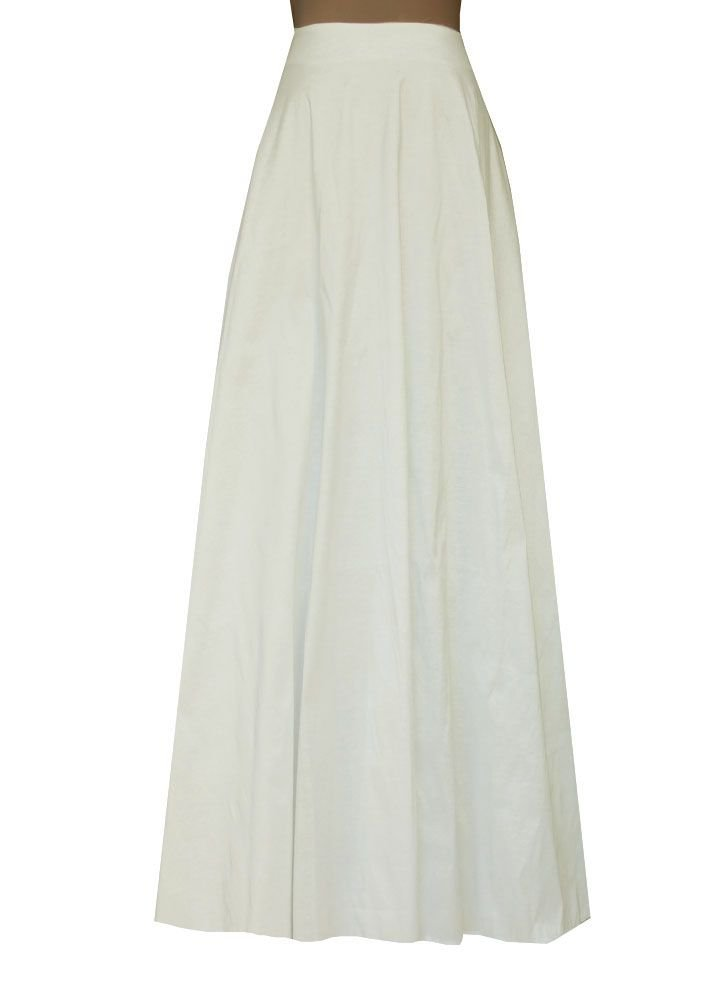 E K Women's long taffeta skirt Maxi evening formal cocktail ball floor length-L-Off-White und