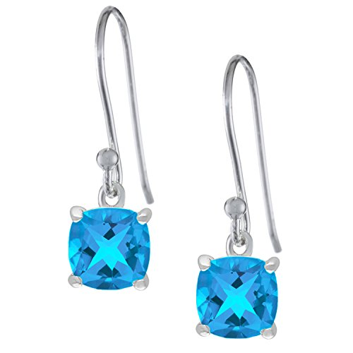 1.60 cttw Cushion 5MM Natural Blue Topaz 925 Sterling Silver Drop Earrings