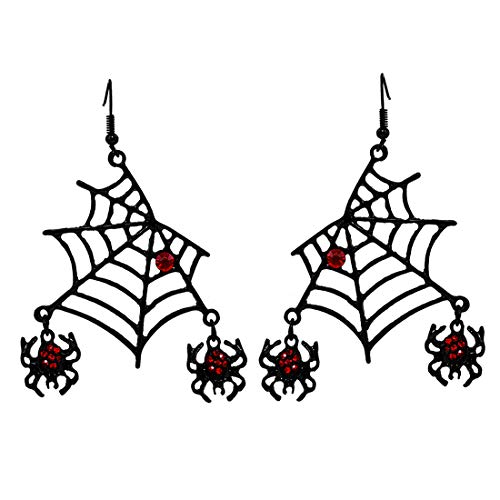 PHALIN JEWELRY Halloween Spider Web Necklace Black Party Large Spider Choker Pendant Necklace for Women Girls (B Black -