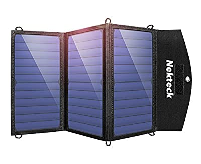 Nekteck Solar Charger with 2-Port USB Charger Build with High efficiency Solar Panel Cell for iPhone 6s / 6 / Plus, SE, iPad, Galaxy S6/S7/ Edge/ Plus, Nexus 5X/6P, any USB devices, and more