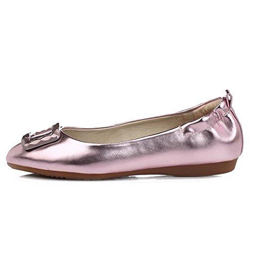 VogueZone009 Damen Ziehen auf Rund Zehe Ohne Absatz PU Leder Rein Flache Schuhe Pink