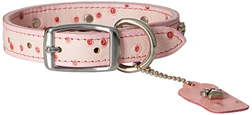Leather Brothers 16-Inch Omni Pet Faux Ostrich Dog Collar with Pink Paws, Medium