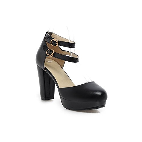 BalaMasa Girls Double Breasted High-Heels Soft Material Pumps-Shoes Black 3TzYfwzj