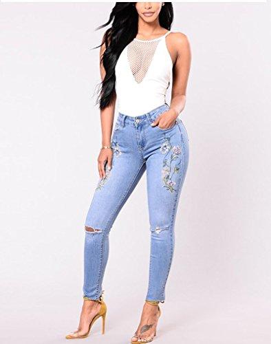 Elastici Strappi Blu Jeans Push Ricamati Up con Vita Donna Alta Stretti Lunghi Pantaloni Jeans FuweiEncore ZOxnwCqg6q