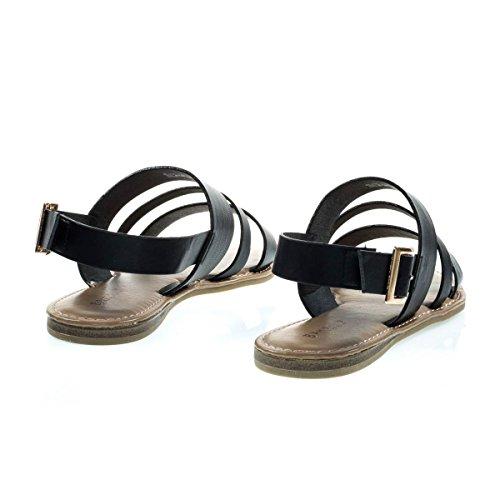 Sandale Plate Multicolore À Bout Ouvert En Simili Cuir 7 Bretelles Métalliques Uni Noir