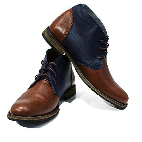 PeppeShoes Modello Caivano - Handmade Italiano da Uomo in Pelle Marrone Chukka Boots - Vacchetta Pelle Morbido - Allacciare
