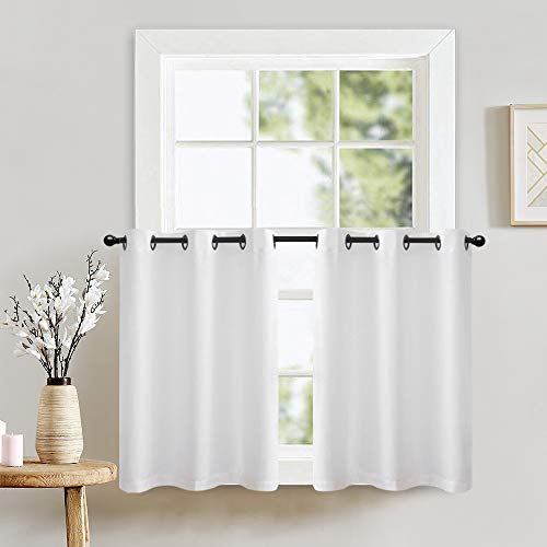 """Lazzzy Kitchen Tiers Curtains for Bedroom Casual Weave Textured Privacy Semi Sheer White Curtains for Bathroom Grommet Top 1 Pair 24"""""""
