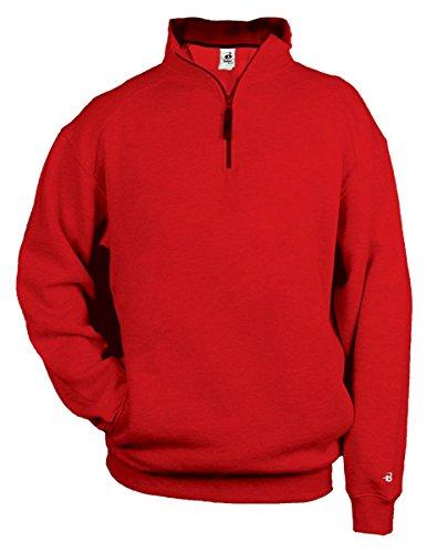 - Badger Warm Ring Spun 2x1 Rib Collar 1/4 Zip Fleece Pullover, Large, Red