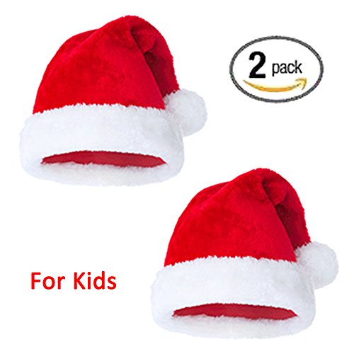Plush Santa Hat Christmas Hats Merry Christmas Caps Red White Headpiece Comfort Liner Headdress Party Decoration Classic Cosplay Costume Makeup Handmade Soft Hats Hair Accessories 2 Pack Children