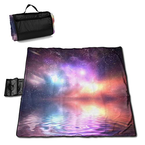 Greatmindo 57x59in Picnic Blanket Ocean Under Northern Lights Galaxy Milky Way Picnic Mat Striped Handy Beach Sandproof and Waterproof for Picnic Beaches Outings