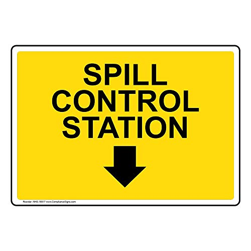 (Spill Control Station [with Down Arrow] Safety Sign, Yellow 7x5 in. Aluminum for Facilities by ComplianceSigns)