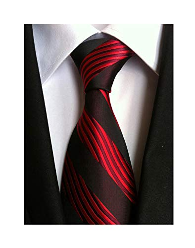 (Secdtie Men's Red Black Striped Jacquard Woven Silk Tie Formal Necktie LUD24)