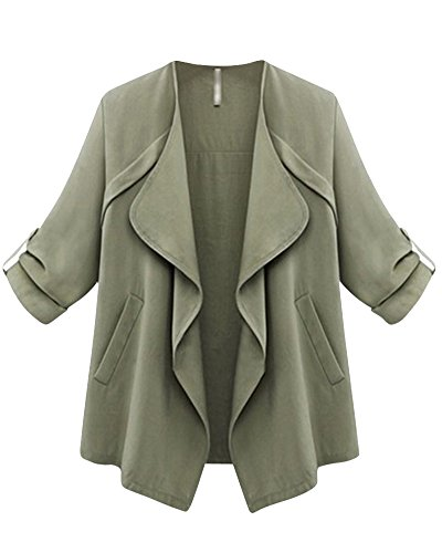 Trench Coat Abrigo De La Mujer Slim Fit Cardigans Cloak Manga Larga Chaqueta Suelto Ejército Verde