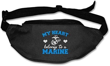 私の心はマリンユニセックスアウトドアファニーパックバッグベルトバッグスポーツウエストパックに属します