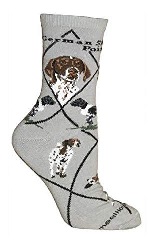 Wheel House Designs Women's German Shorthaired Pointer Socks 9-11 Gray
