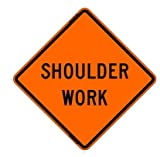 Shoulder Work 36''x36'' Reflective Roll-Up Sign w/Rib Support Kit