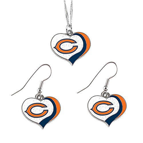 (aminco Chicago Bears Sports Team Logo Glitter Heart Necklace and Earring Set)