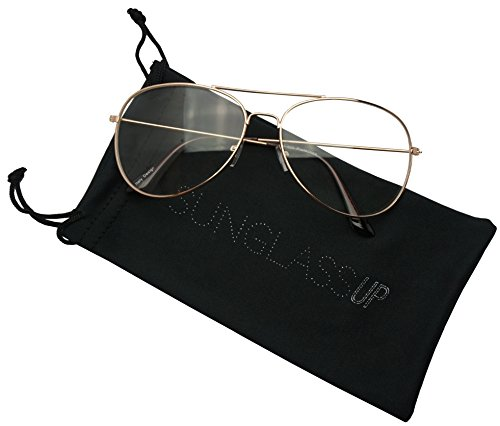 Large 60mm Metal Rose Gold Frame Clear Lens Non-Prescription Aviator Sun Glasses (Rose Gold, - Aviators Rose