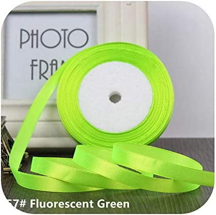 kawayi-桃 25ヤード/ロールグログランサテンリボン結婚式のクリスマスパーティーの装飾6mm-40mm DIY弓クラフトリボンカードギフト-Fluorescent Green-40mm