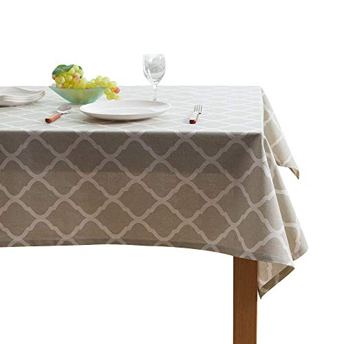 ColorBird Tablecloth Geometric Series Moroccan Pattern Cotton Linen Tablecloth for Dining Kitchen Living Decorative Tabletop Cover (Rectangle/Oblong, 55″ x 86″, Light Grey)