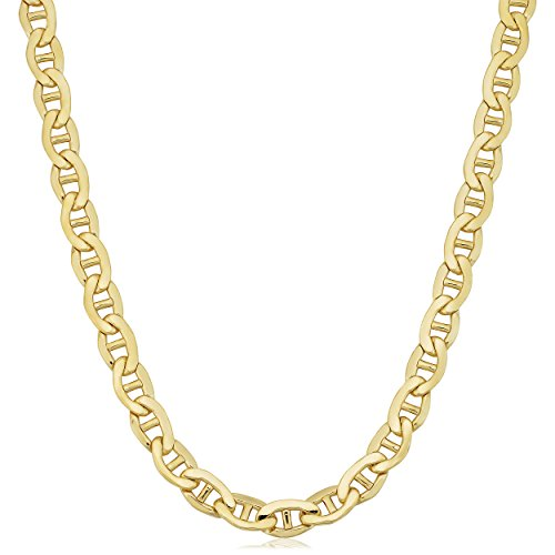 Kooljewelry 14k Yellow Gold Filled Men's Heavyweight 7.8 mm Mariner Link Chain Necklace (24 inch)