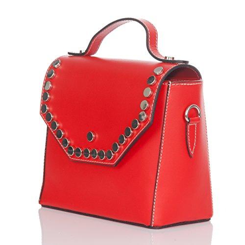 Moretti tamaño Con Color Planas Rojo Redondas Laura Bolso Pequeño Tachuelas Metálico De Con Mini Solapa qxqBURvd