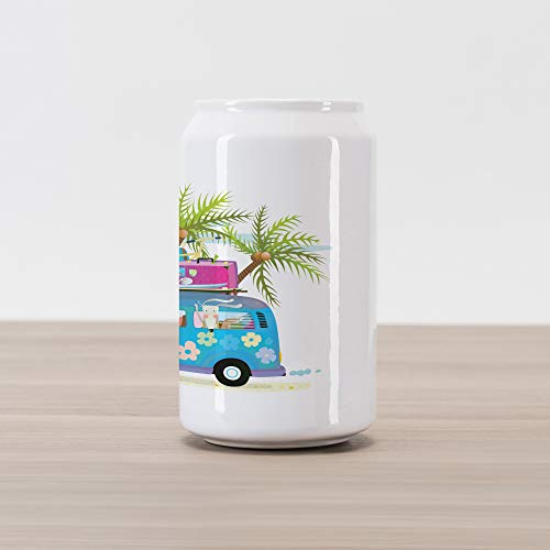 Lunarable Cars Cola Can Shape Piggy Bank, Summer Vacation Holiday Mini Bus with Funny Cartoon Animals Tropical Coconut Trees, Ceramic Cola Shaped Coin Box Money Bank for Cash Saving, Multicolor