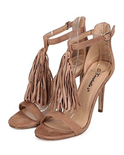 Breckelles Ed35 Sandalo Aperto In Pelle Scamosciata Con Cinturino Alla Caviglia Suola Singola Beige