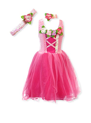 [My Princess Academy Girls Elegant Costume Classic Velvet Dress Dark and Light Pink Large] (Fairy Costumes Girl)