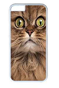 Big Face Brown Cat Custom iphone 6 plus 5.5 inch Case Cover Polycarbonate White