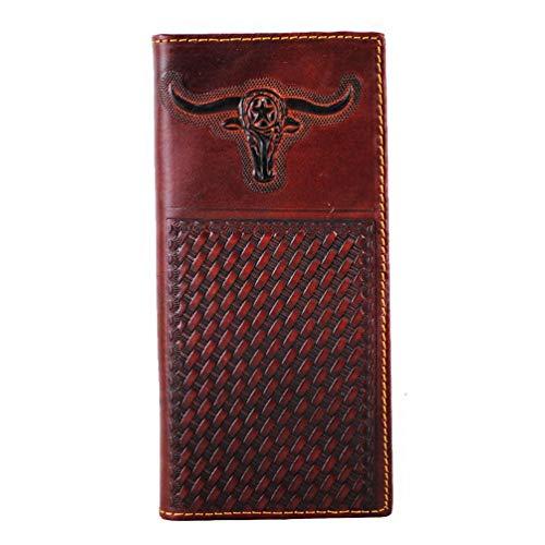 Men's Genuine Leather Wallet Long Bifold Western Wallet Checkbook for Men - Western Wallet Mens