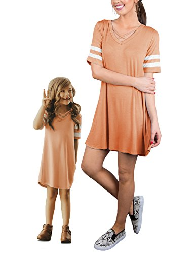GRAPENT Mommy and Me Orange Crisscross Short Sleeve Run Dress M(6-7 Years)