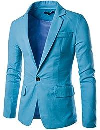 Men's Linen Blazer Lightweight Casual Solid One Button Slim Fit Sport Coat