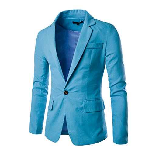 Pishon Men's Linen Blazer Lightweight Casual Solid One Button Slim Fit Sport Coat, Light Blue, Tag Size XXL=US Size M