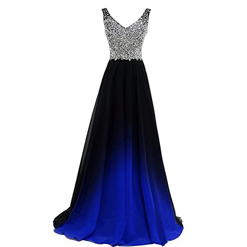 Lemai Plus Size Gradient Black Ombre Chiffon Royal Blue Beaded Prom Evening Dress US 16W