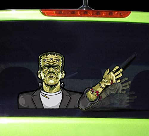 WiperTags Frankenstein Waving with Decal attaches to Rear