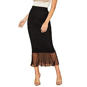 Verdusa Women's Elastic Waist Polka Dot Mesh Overlay Fishtail Skirt