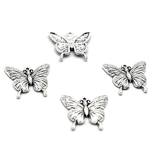 MT 2007 Alloy Charms, Silver Tone Handmade Supply Charms, Handmade Craft, Handmade Jewelry Supply (40PCS CC226 Butterfly Charms) (Silver Tone Butterfly Charms)