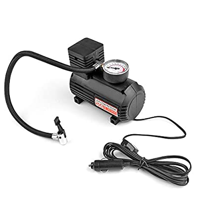 Flexzion Portable Air Compressor Tire Inflator 300 PSI 12V Car Auto Tire Pump Mini Tool with Two Nozzle Adaptors Sports Needle and Pressure Gauge