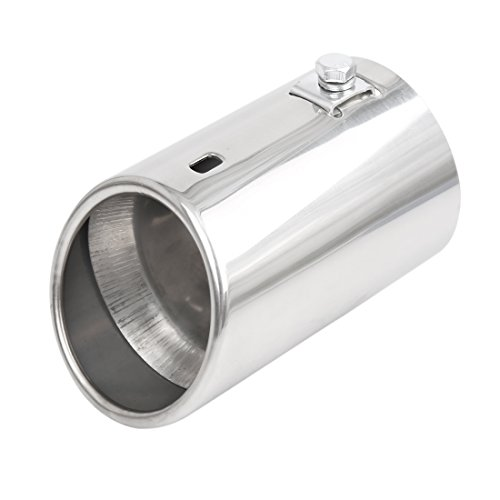 Uxcell a17050500ux0031 Silver Tone Universal Car Vehicle Stainless Steel Chrome Exhaust Rear Tail Muffler Tip Pipe Fit Diameter 1 1/4 to 2 Inch (Universal Fit Exhaust Tip)