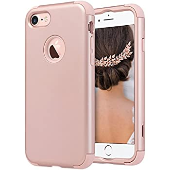 iPhone 7 Case, ULAK Hybrid KNOX ARMOR Anti-slip Shockproof Dual Layer Protective Case for Apple iPhone 7 4.7 inch-Rose Gold