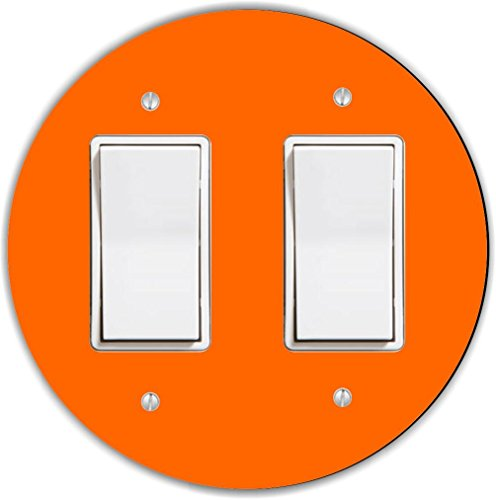 Rikki Knight Orange Design Round Double Rocker Light Switch Plate by Rikki Knight