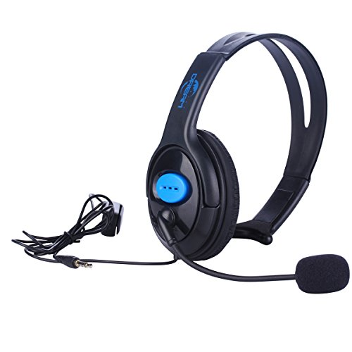 Megadream 3.5mm Unilateral Wired Online Gaming Chat Headset Headphone with Voice Control & Microphone & Adjustable Headband for Sony Playstation 4 Dualshock, PS4, PS4 Slim, PS4 Pro Controller & Laptop]()