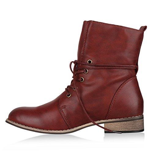 Stiefelparadies Flandell Stiefeletten Damen Übergrößen Boots Worker Dunkelrot apPa8rWqc