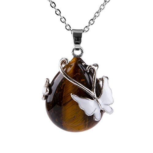 Bivei Vintage Wire Wrap Butterfly Gemstone Rose Quartz Amethyst Opalite Healing Crystal Pendant Necklace (Yellow Tiger Eye)