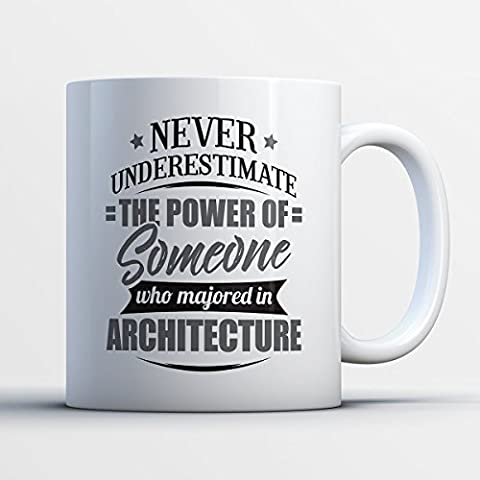 Architecture Coffee Mug - Never Underestimate The Power Of Someone Who Majored In Architecture - Funny 11 oz White Ceramic Tea Cup-Humorous and Cute Architecture Major Gifts with Architecture (Autocad Api)
