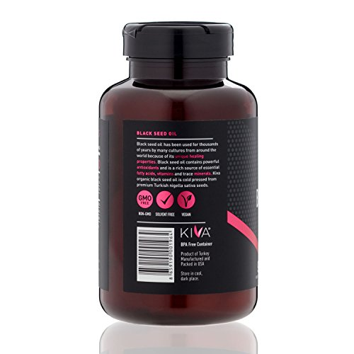 Kiva Black Seed Oil Capsules - Organic, Cold-pressed and RAW (90 Softgels) by Kiva (Image #1)